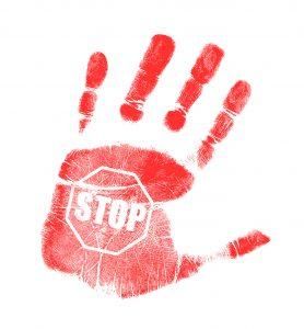 handprint stop sign illustration design over a white background